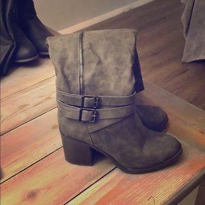 Grey Knee High Heeled Boots